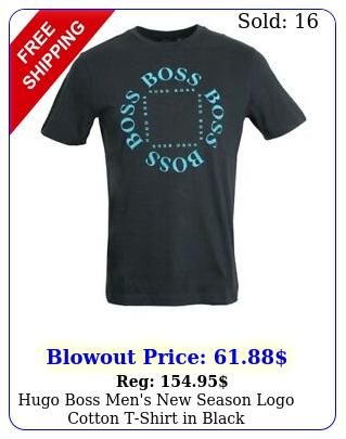 hugo boss men's season logo cotton tshirt in blac