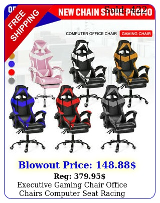 executive gaming chair office chairs computer seat racing recliner w footres