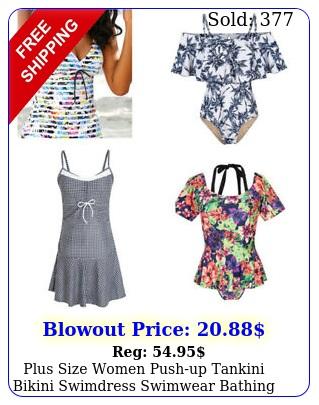 plus size women pushup tankini bikini swimdress swimwear bathing suit swimsui
