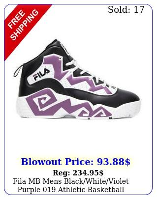 fila mb mens blackwhiteviolet purple athletic basketball sneaker shoe