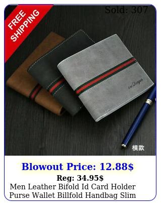 men leather bifold id card holder purse wallet billfold handbag slim clutc