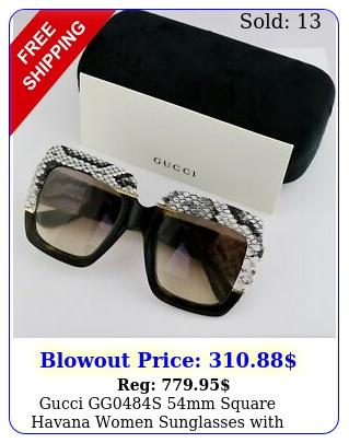 gucci ggs mm square havana women sunglasses with light brown len