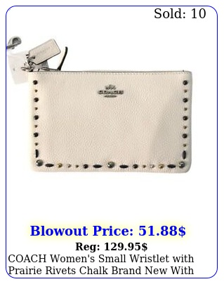 coach women's small wristlet with prairie rivets chalk brand with tag