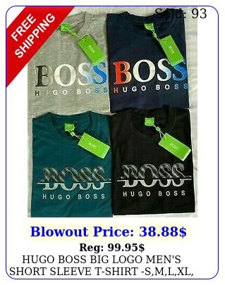 hugo boss big logo men's short sleeve tshirt smlxl black white blue re