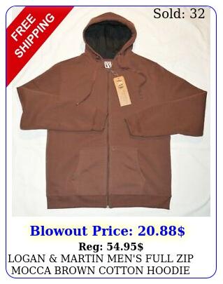 logan martin men's full zip mocca brown cotton hoodie fleece lined sweatshir