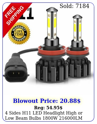 sides h led headlight high or low beam bulbs w lm k white pc