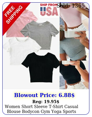 women short sleeve tshirt casual blouse bodycon gym yoga sports crop tank to