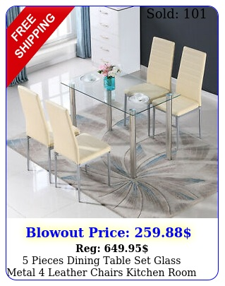 pieces dining table set glass metal leather chairs kitchen room furnitur