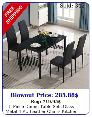 piece dining table sets glass metal pu leather chairs kitchen room furnitur