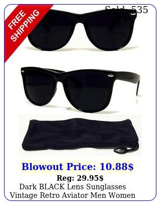 dark black lens sunglasses vintage retro aviator men women classic frame glasse