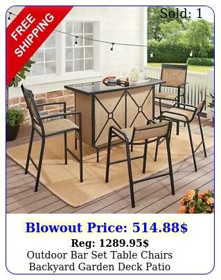 outdoor bar set table chairs backyard garden deck patio furniture glass piec