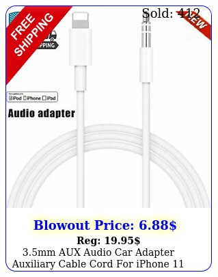mm aux audio car adapter auxiliary cable cord iphone pro max  plu
