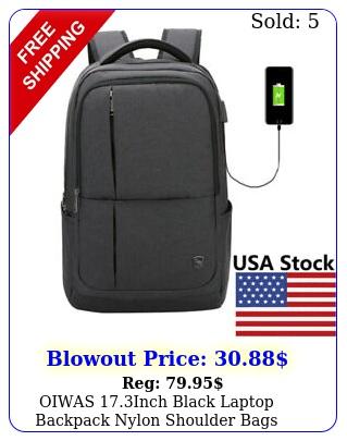 oiwas inch black laptop backpack nylon shoulder bags waterproof business ba