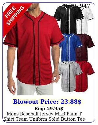mens baseball jersey mlb plain t shirt team uniform solid button te