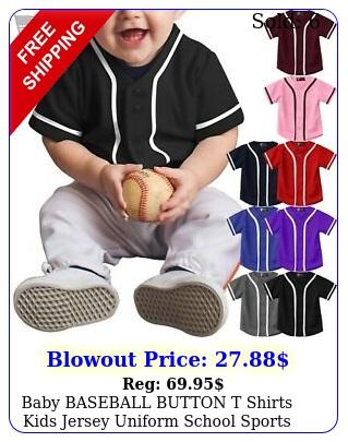 baby baseball button t shirts kids jersey uniform school sports active casua