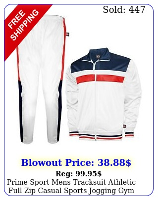 prime sport mens tracksuit athletic full zip casual sports jogging gym sweatsui