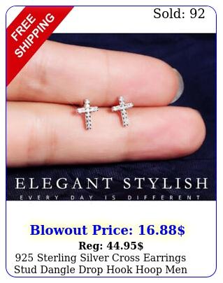 sterling silver cross earrings stud dangle drop hook hoop men wome