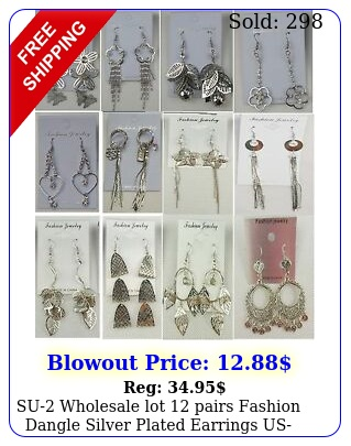 su wholesale lot pairs fashion dangle silver plated earrings usselle