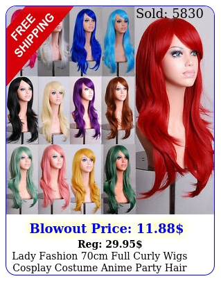 lady fashion cm full curly wigs cosplay costume anime party hair wavy long wi