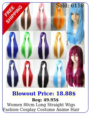 women cm long straight wigs fashion cosplay costume anime hair party full wig