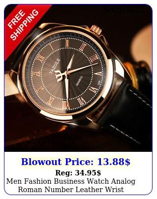 men fashion business watch analog roman number leather wrist watch's
