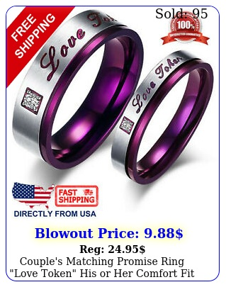 couple's matching promise ring love token his or comfort fit wedding ban