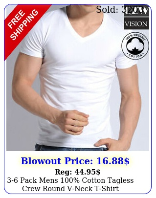 pack mens cotton tagless crew round vneck tshirt undershirt tee whit