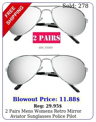pairs mens womens retro mirror aviator sunglasses police pilot driving silve