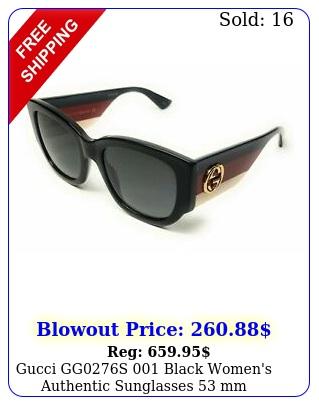 gucci ggs black women's authentic sunglasses m