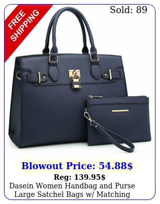 dasein women handbag purse large satchel bags w matching wallet pcs se