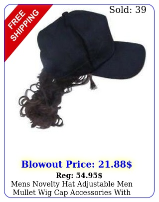 mens novelty hat adjustable men mullet wig cap accessories with attached hai