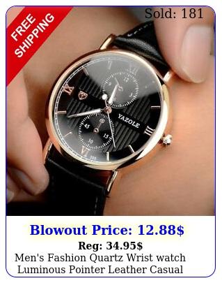 men's fashion quartz wrist watch luminous pointer leather casual watch's