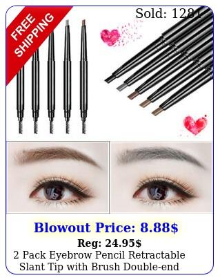 pack eyebrow pencil retractable slant tip with brush doubleend waterproo