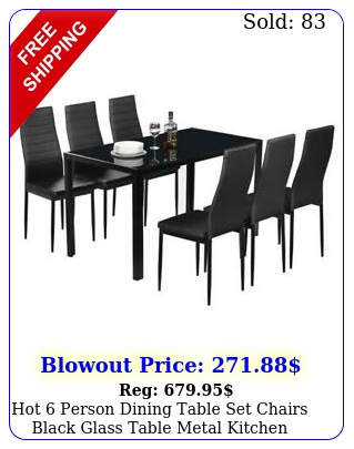 hot person dining table set chairs black glass table metal kitchen room pc