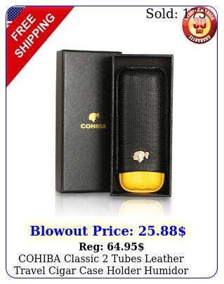 cohiba classic tubes leather travel cigar case holder humidor black wgif