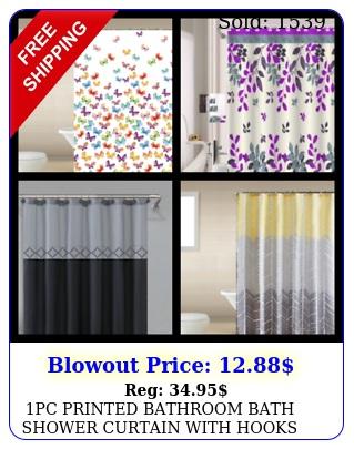 pc printed bathroom bath shower curtain with hooks designs