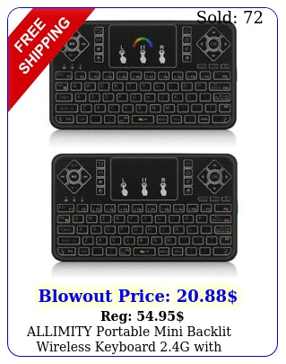 allimity portable mini backlit wireless keyboard g with touchpad mouse comb