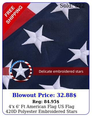 'x ' ft american flag us flag d polyester embroidered stars brass grommet
