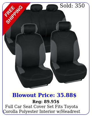full car seat cover set fits toyota corolla polyester interior wheadrest cover