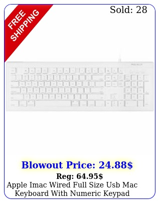 apple imac wired full size usb mac keyboard with numeric keypad white pc key