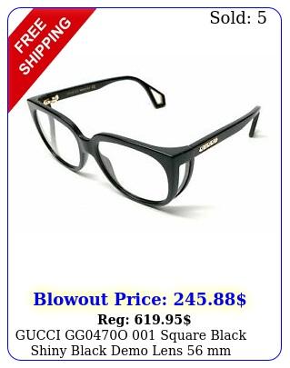 gucci ggo square black shiny black demo lens mm women's eyeglasse