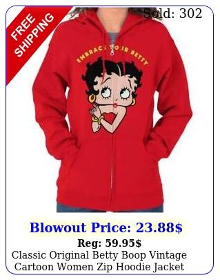 classic original betty boop vintage cartoon women zip hoodie jacket sweatshir