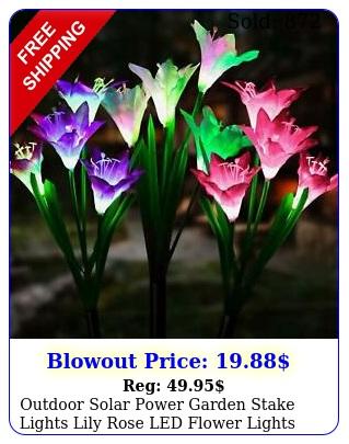 outdoor solar power garden stake lights lily rose led flower lights waterproo