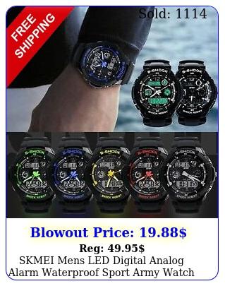 skmei mens led digital analog alarm waterproof sport army watch wristwatc