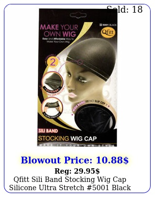 qfitt sili band stocking wig cap silicone ultra stretch  blac