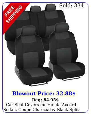 car seat covers honda accord sedan coupe charcoal black split benc