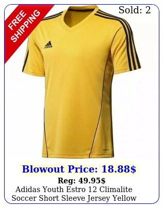 adidas youth estro climalite soccer short sleeve jersey yellow size youth