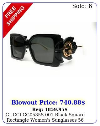 gucci ggs black square rectangle women's sunglasses m