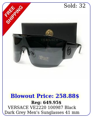 versace ve black dark grey men's sunglasses m