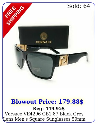 versace ve gb black grey lens men's square sunglasses m